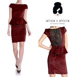 NWT Alice + Olivia Red Rose Peplum Velvet Dress